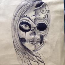 Big Tattoo Planet Charcoal Half Skull Half Face Big Tattoo Planet