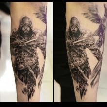 Big Tattoo Planet Black Grey Assassins Creed Logo Big Tattoo