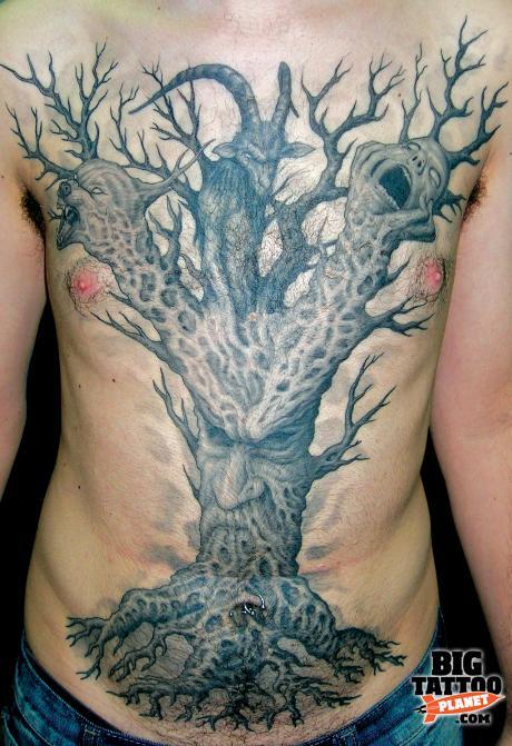 Forbidden Fruit Roey At Pentagram Tattoo Israel Black And Grey